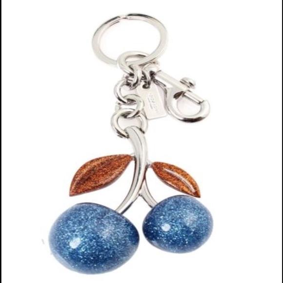 743b8fe88c2 $90 coach blue cherry key fob glitter bag charm NWT