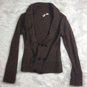 Tiara Sweaters - •• TIARA • Brown Button Front Cardigan Sweater