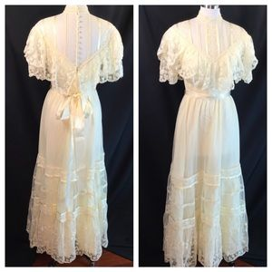 Vtg Ivory Tulle Maxi Steampunk Victorian Dress S