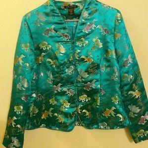 Anne Carson Tops - Gorgeous Aqua Silky Top/Jacket with Koi Fish