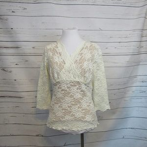 CAbi Ivory Lace Crossover Top L Style 427