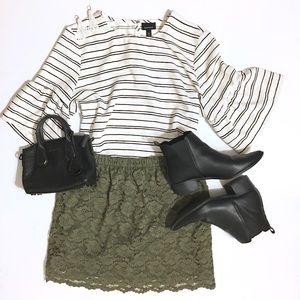 Xhilaration Dresses & Skirts - Army Green Lace Miniskirt