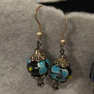 Jewelry - Sterling & blown glass bead earrings