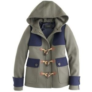 J. Crew Colorblock Duffle Toggle Wool Coat
