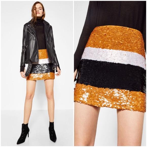 a15ea504320d Zara Skirts | Nwt Tricolor Sequin Mini Skirt | Poshmark