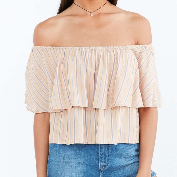 ec948c5acc9 Urban Outfitters Tops   Ruffle Striped Off The Shoulder Top   Poshmark