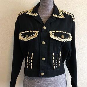 Vintage Cache Bolero Denim Jacket Gold Gem