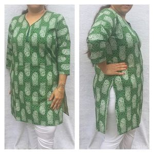 Tops - Green and cream tunic top