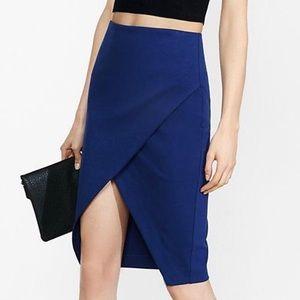 Express blue asymmetrical pencil skirt