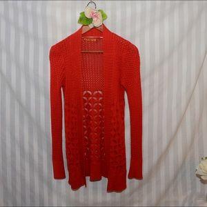 Belldini Sweaters - Long Orange Cardigan