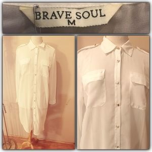 brave soul Tops - Long white button down shirt