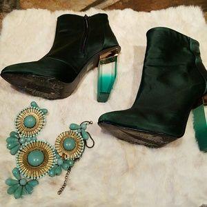 Miista Shoes - Miista Emerald Green Crystal Heeled Bootie