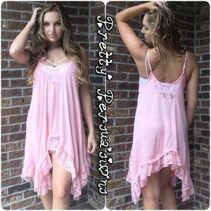 Pretty Persuasions Dresses & Skirts - NWT Pink Lace Trim Swing Slip Dress Tunic