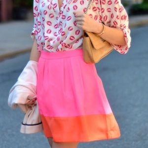 J. Crew Factory Dresses & Skirts - J. Crew Pink & Orange Pleated Colorblock Skirt