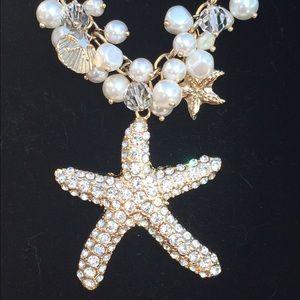 Gold Tone Crystal Starfish Pearl Bead Statement