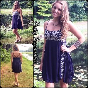 NWT Navy & White Floral Embroidered Slip Dress