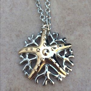 Two Tone Coral Branch Starfish Pendant Necklace