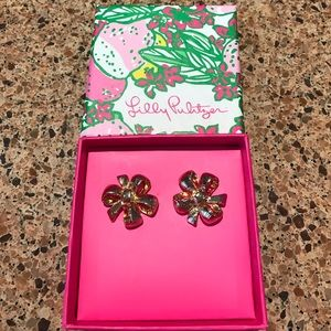 Lilly Pulitzer Bow Tie Earrings NWT Gold Stud