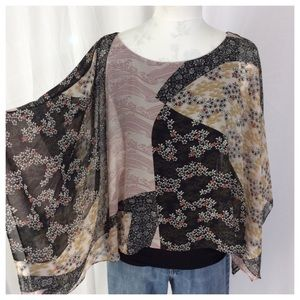 Tops - Boho Sheer Poncho with Lining