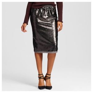 Who What Wear Sequin Pencil Gray Skirt Sz Small
