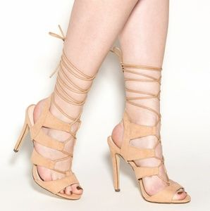 2Chillies Shoes - 415 Satin Gladiator Camel Heels