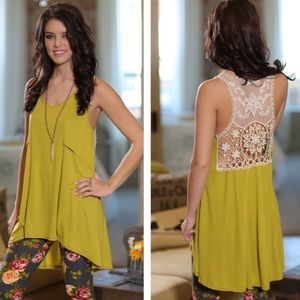 Infinity Raine Tops - 🆕Chartreuse Lace Sleeveless Tunic