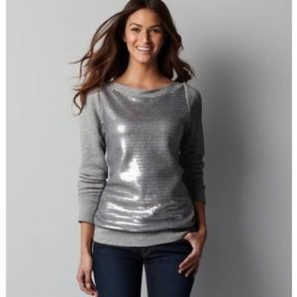 81 Off Loft Tops Grey Sequin Front Sweatshirt Ann Taylor Loft From Stacy S Closet On Poshmark