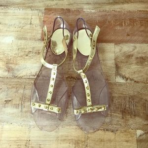 Stuart Weitzman gold jelly sandals (never used)