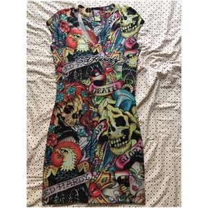 Authentic Ed Hardy Death or Glory Knit Dress
