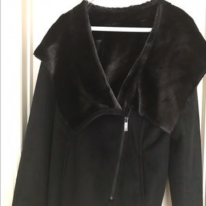 Faux black shearling/suade hooded jacket L