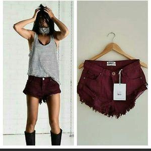 New One Teaspoon Bordeaux Bandits Shorts Size 25