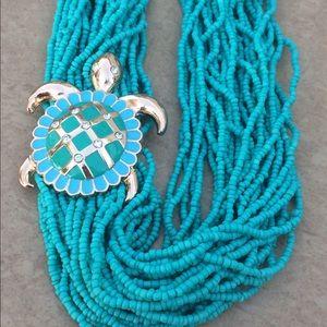 Gold Tone Turquoise Bead Sea Turtle Enamel Neck
