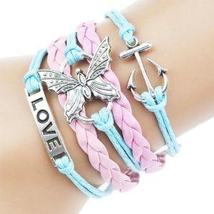 Jewelry - Anchor love butterfly pink light blue bracelet new