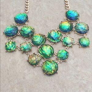 Gold Tone Multi Iridescent Statement Necklace