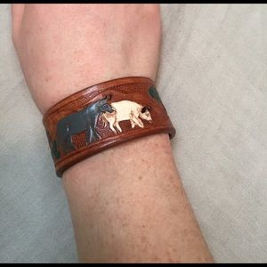 Jewelry - Boutique reclaimed leather cuff