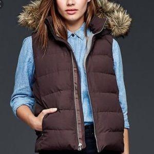 Gap Puffer Vest with Fur Hood.