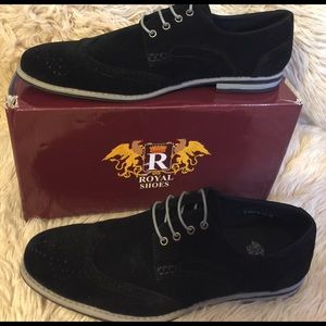 Black ROYAL Men's Casual Wing Tip  Shoes