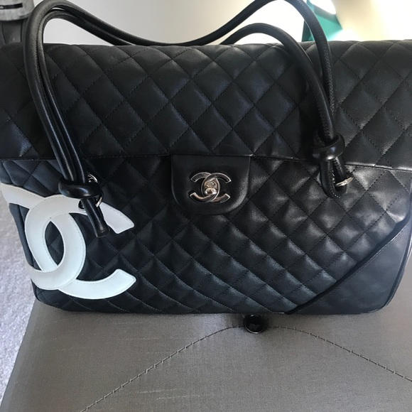 b972a1d6447 CHANEL Bags   Vintage Black Quilted With White Logo   Poshmark