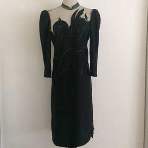 RARE 1980's GEISHA black + silver mesh dress M