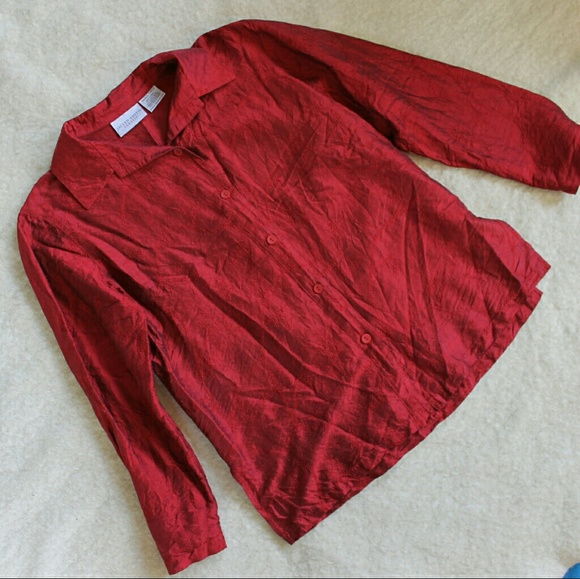 Jaclyn Smith Tops - Holiday Perfect! Red Silk Embroidered Blouse