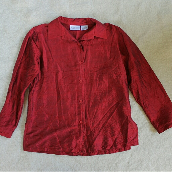 Jaclyn Smith Tops - Red Silk Embroidered Blouse
