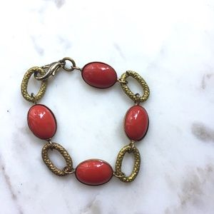 Coral Bead and Gold Chain Clasp Bracelet