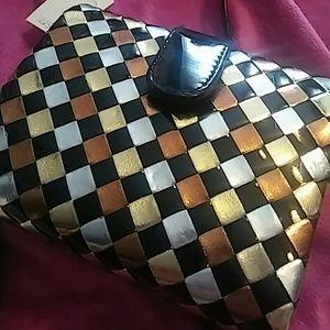 Vintage NWT Metallic Faux Leather Evening Bag