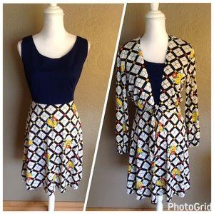 Vintage Women's Aline dress with jacket floral 12