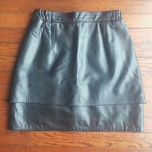 Vintage Dresses & Skirts - Vintage Genuine Leather Black Mini Moto Skirt