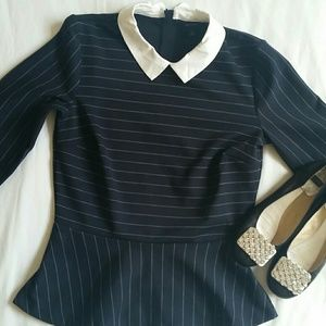 Anne Taylor Tops - ANNE TAYLOR  pinstriped navy blouse with white col