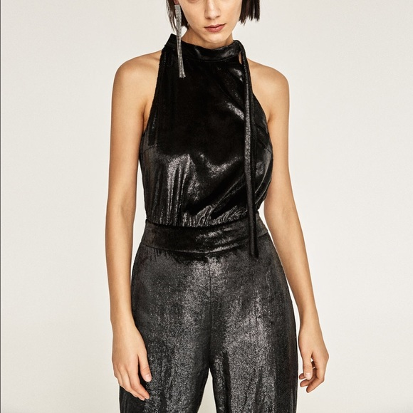 80348732b4c2 Zara Velvet Shiny Black Jumpsuit