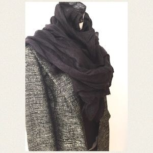 Eileen Fisher Accessories - Eileen Fisher Eggplant Ruffle Scarf Wearable Art!