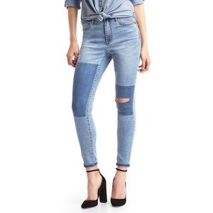 Skinny High Rise Distressed Patchwork Jeans