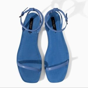 Women's Blue Flat Sandal with Ankle Strap